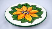 Flower with Leaves Round Plate