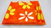 Yellow and White Blossom Square Plate Set (1)