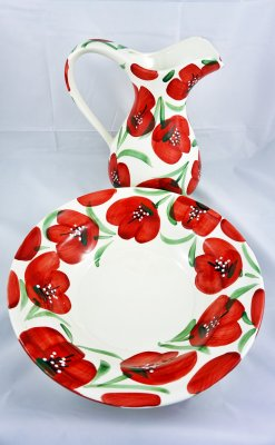 Red Flower Jug with Plate (1)