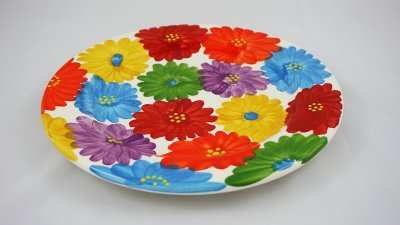 Colourful Flower Round Plate