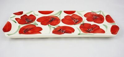 Red Flower Long Plate (1)