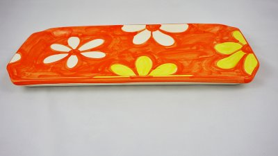 Yellow and White Blossom Long Plate