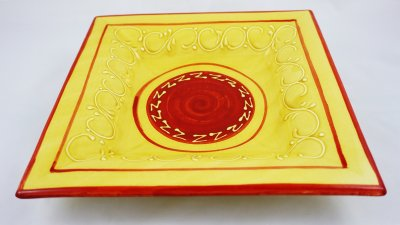 Yellow Pattern Square Plate