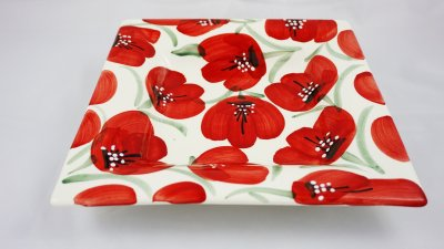 Red Flower Square Plate (1)