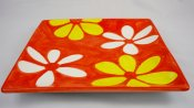 Yellow and White Blossom Square Plate