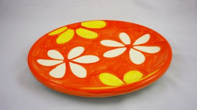 Yellow and White Blossom Round Plate