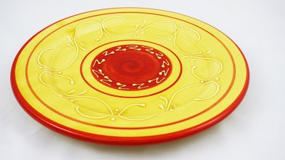 Yellow Pattern Round Plate