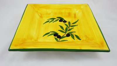 Yellow Olive Square Plate
