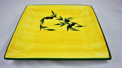 Yellow Olive Square Plate (1)